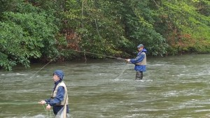 David LePere and student fly fishing